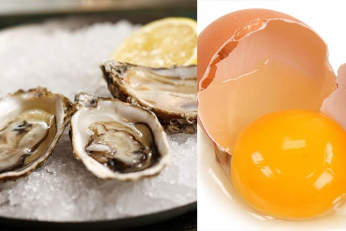 Oysters and eggs raw food